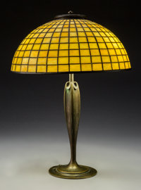 A Tiffany Studios Leaded Glass and Bronze Geometric Table Lamp, circa 1910 Marks to shade: TIFFANY STUDIOS N.... (Total:...