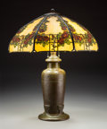 Lighting:Lamps, Handel Painted Glass and Bronze Rose Trellis Table Lamp, circa 1920. Marks to shade: HANDEL PAT'D NO 924457... (Total: 2 Items)