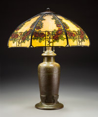 Handel Painted Glass and Bronze Rose Trellis Table Lamp, circa 1920 Marks to shad