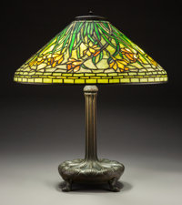 Tiffany Studios Leaded Glass and Bronze Daffodil Table Lamp, circa 1915 Marks to
