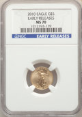 Modern Bullion Coins, 2010 $5 Tenth-Ounce Gold Eagle, Early Releases MS70 NGC. NGC Census: (0). PCGS Population: (10605). MS70....