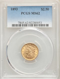 1893 $2 1/2 MS62 PCGS. PCGS Population: (212/458). NGC Census: (311/414). CDN: $450 Whsle. Bid for problem-free NGC/PCGS...