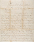 Autographs:Military Figures, Sergt. William Foster Morgan Sends back Piece Of Rebel Flag That Flew Over City Hall In Atlanta, GA.. ...