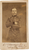 Autographs:Military Figures, Confederate General P.G.T. Beauregard: Rare Signed Carte De Visite (CDV) On the Day Of Fort Sumter Surrender!. ...