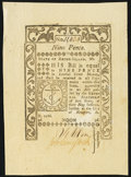 Colonial Notes:Rhode Island, Rhode Island May 1786 9d Choice New.. ...
