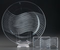 Glass, Three R. Lalique Leda Clear and Frosted Glass Table Pieces, circa 1944 . M p. 788 & 725, No. 3608 & 10-3062.