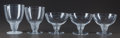 Glass, Five R. Lalique Saumur Clear and Frosted Glass Stems, circa 1930. M p. 844, No. 5206, 5209...
