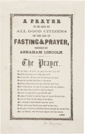 Political:Small Paper (pre-1896), Jefferson Davis: Anti-Abraham Lincoln Prayer.. ...