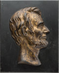 Political:3D & Other Display (1896-present), Abraham Lincoln: Heavy Portrait Plaque.. ...