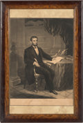 Political:Small Paper (pre-1896), Abraham Lincoln: Scarce 1863-dated Engraving of Lincoln Signing the Emancipation Proclamation.. ...