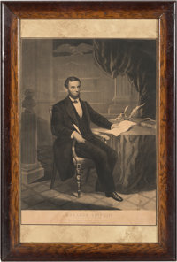 Abraham Lincoln: Scarce 1863-dated Engraving of Lincoln Signing the Emancipation Proclamation