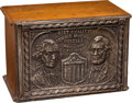 Advertising:Tins, Excelsior Sewing Cabinet With Washington And Lincoln.. ...