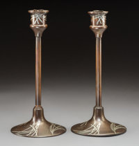 Pair of Heintz Arts & Crafts Pine Needle Patinated Bronze Candlesticks with Silver Overlay, circa 1910 Marks:...