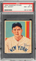 Baseball Cards:Singles (1930-1939), 1934-36 Diamond Stars Bill Dickey (1934 Green) #11 PSA NM-MT 8 - Only One Higher. ...