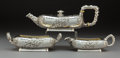 Silver & Vertu, A Three-Piece Dominick & Haff Aesthetic Movement Partial Gilt Hammered Silver Tea Set Retailed by George C. Shreve & Co., Ne... (Total: 3 Items)