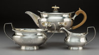 A Three-Piece Robert I and Samuel Hennell Silver Tea Set, London, 1804-1806 Marks to teapot: (lion passant), (crow