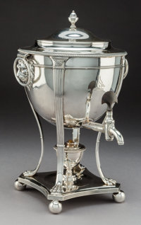 A Robert Sharp George III Neoclassical Silver Hot Water Urn, London, 1801 Marks: (lion passant), (crowned leopard'