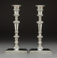 A Pair of Edward Wakelin George II Silver Candlesticks, London, 1756 Marks: (lion passant), (crowned leopard's hea