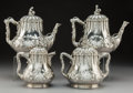Silver & Vertu, A Four-Piece Grosjean and Woodward Coin Silver Tea Service Retailed by Jones, Ball & Poor, New York, circa 1850. Marks: JO... (Total: 4 Items)