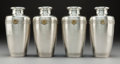 Silver & Vertu:Hollowware, A Set of Four Japanese Silver Vases with Gilt Mon, Meiji Period. Marks: (jungin mark). 7-1/8 x 3-1/8 x 3-1/8 inches (18.1 x ... (Total: 4 Items)