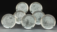 A Set of Seven Japanese Silver Plates, Meiji Period Marks: (jungin mark), (studio mark) 8-1/8 inches (20.6 cm)