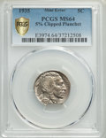 Errors, 1935 5C -- 5% Clipped Planchet -- MS64 PCGS. PCGS Population: (806/2268 and 4/68+). NGC Census: (378/1112 and 1/9+). CDN: $...