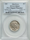 Errors, 1935 5C -- 3% Clipped Planchet -- MS62 PCGS. PCGS Population: (45/3273). NGC Census: (96/1638). CDN: $23 Whsle. Bid for pro...