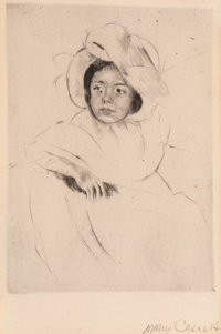 Mary Stevenson Cassatt (American, 1844-1926) Margot Wearing a Bonnet (No. 4), circa 1902 Drypoint on laid paper with w...