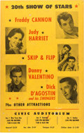 """Music Memorabilia:Posters, Freddy Cannon 1960 """"20th Show of Stars"""" Concert Poster, Honolulu, Hawaii. ..."""