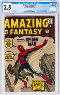 Silver Age (1956-1969):Superhero, Amazing Fantasy #15 (Marvel, 1962) CGC VG- 3.5 Off-white to white pages....