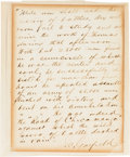 """Autographs:Military Figures, James A. Garfield: Autograph Letter Signed [ALS] Regarding General George Thomas Being the """"Rock Of Chickamauga"""".. ..."""