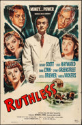 "Movie Posters:Film Noir, Ruthless (Eagle Lion, 1948). Folded, Fine+. One Sheet (27"" X 41""). Film Noir.. ..."