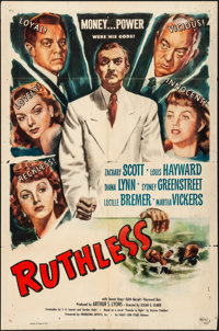 "Ruthless (Eagle Lion, 1948). Folded, Fine+. One Sheet (27"" X 41""). Film Noir"