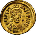 Ancients:Byzantine, Ancients: Justin I (AD 518-527). AV solidus (20mm, 4.49 gm, 6h). NGC MS 5/5 - 4/5....