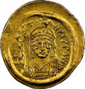 Ancients:Byzantine, Ancients: Justin II (AD 565-578). AV solidus (22mm, 4.52 gm, 6h). NGC MS 4/5 - 4/5....