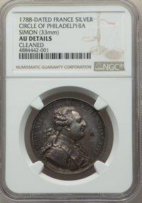 """World Lots: Louis XVI silver """"Circle of Philadelphia"""" Jeton or Medal 1788-Dated AU Details (Cleaned) NGC"""