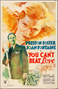 """Movie Posters:Comedy, You Can't Beat Love (RKO, 1937). Folded, Fine+. One Sheet (27"""" X 41""""). Comedy.. ..."""