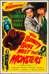 """The Bowery Boys Meet the Monsters (Allied Artists, 1954). Folded, Fine/Very Fine. One Sheet (27"""" X 41""""). Comed..."""