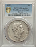 Coins of Hawaii , 1883 $1 Hawaii Dollar -- Filed Rims -- PCGS Genuine. AU Details. NGC Census: (38/214 and 0/3+). PCGS Population: (87/252 an...