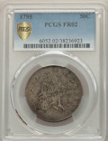 Early Half Dollars, 1795 50C 2 Leaves Fair 2 PCGS. PCGS Population: (18/1889 and 0/6+). NGC Census: (1/760 and 0/2+). Mintage 299,680....