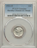 1921-D 10C -- Harshly Cleaned -- PCGS Genuine. AU Details. NGC Census: (13/166). PCGS Population: (44/239). CDN: $900 Wh...