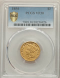 Three Dollar Gold Pieces, 1854 $3 VF30 PCGS. PCGS Population: (30/3559 and 0/31+). NGC Census: (22/4190 and 0/15+). VF30. Mintage 138,618....