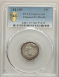 Bust Dimes, 1811/09 10C -- Cleaned -- PCGS Genuine. AU Details. NGC Census: (0/0 and 0/0+). PCGS Population: (4/26 and 0/0+). CDN: $2,0...