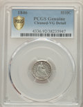 Seated Half Dimes, 1846 H10C -- Cleaned -- PCGS Genuine. VG Details. NGC Census: (12/45 and 0/0+). PCGS Population: (15/94 and 0/0+). CDN: $1,...