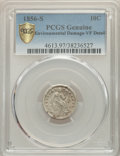 1856-S 10C -- Environmental Damage -- PCGS Genuine. VF Details. NGC Census: (0/24 and 0/0+). PCGS Population: (7/58 and...