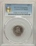 1846 10C -- Cleaned -- PCGS Genuine. VF Details. NGC Census: (5/28 and 0/0+). PCGS Population: (17/98 and 0/0+). CDN: $9...
