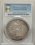 1845 $1 -- Cleaned -- PCGS Genuine. VF Details. NGC Census: (1/180 and 0/0+). PCGS Population: (4/319 and 0/1+). CDN: $5...