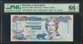 World Currency, Bahamas Central Bank 100 Dollars 2000 Pick 67 PMG Gem Uncirculated 66 EPQ.. ...
