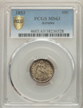 Seated Dimes, 1853 10C Arrows MS63 PCGS. PCGS Population: (146/306 and 1/11+). NGC Census: (133/306 and 0/4+). CDN: $475 Whsle. Bid for p...