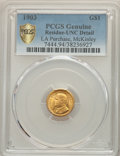 1903 G$1 Louisiana Purchase, McKinley Gold Dollar -- Residue -- PCGS Genuine. Unc Details NGC Census: (10/2007 and 0/21+...